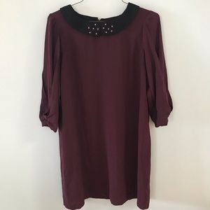 LC Lauren Conrad Plum Dress with Floral Collar L